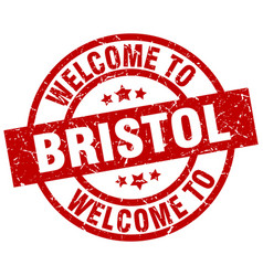 Welcome to bristol red stamp vector