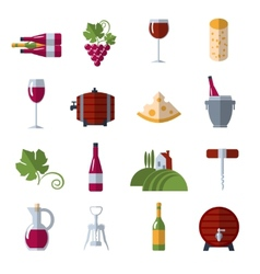 Wine flat icons set vector