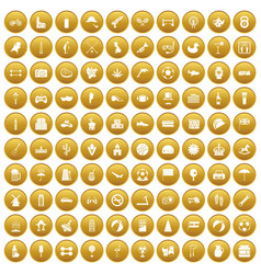 100 ball icons set gold vector