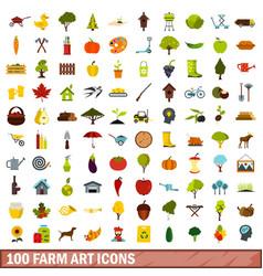 100 farm art icons set flat style vector image