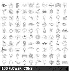 100 flower icons set outline style vector