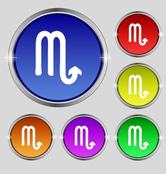 Scorpio icon sign round symbol on bright colourful vector