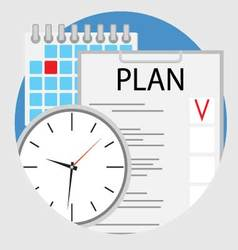 Planning and organization of time flat icon vector
