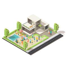 Isometric suburban villa party concept vector
