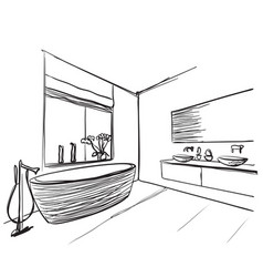 Hand drawn bathroom washbasin and window sketch vector