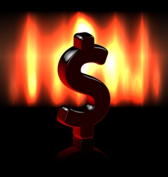 Dollar symbol sign over fire vector