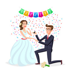 Bride and groom as love wedding couple cartoon vector