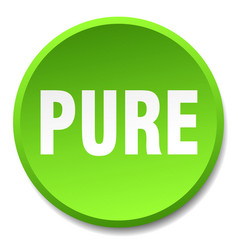 Pure green round flat isolated push button vector