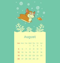 2018 august calendar with welsh corgi dog vector