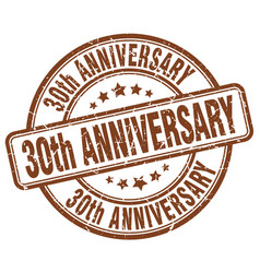 30th anniversary brown grunge stamp vector image