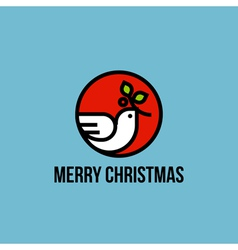 Christmas dove of peace with holly branch vector