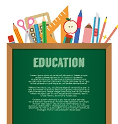 School supplies with chalkboard education concept vector