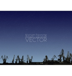 Shipyard harbor skyline night design vector