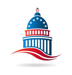 Capitol building in red white and blue vector