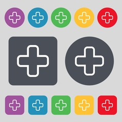 Plus icon sign a set of 12 colored buttons flat vector