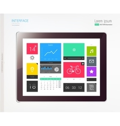Tablet with interface template vector image