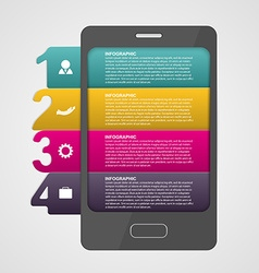 Smartphone design concept numbered infographic vector