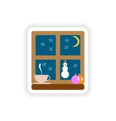 stylish paper sticker on white background Window vector image