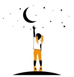 Girl reaching the stars on a white background vector