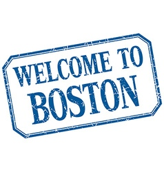 Boston - welcome blue vintage isolated label vector