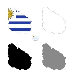 Uruguay kingdom country black silhouette and with vector