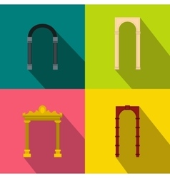 Arch banner set flat style vector