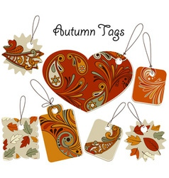 Autumn tags with floral patterns vector