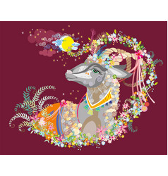 background with decorative goat vector image