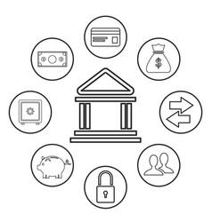 Bank building money security trasnfer online vector