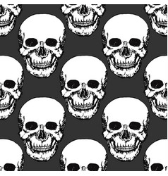Black skulls print skull pattern hand drawn vector