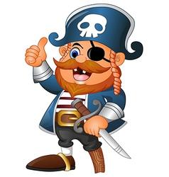 cartoon pirate thumb up vector image vector image