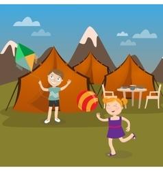 Children Summer Camp Boy Launches Kite vector image
