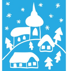Christmas church and houses hand - drawn style vector