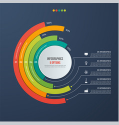 Circle informative infographic design 5 options vector