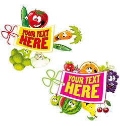 fruit and vegetable healthy tag vector image