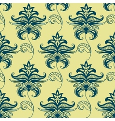 Green paisley floral pattern on yellow background vector image