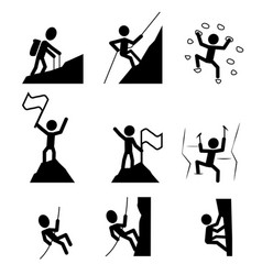 Hiking and climbing icon vector