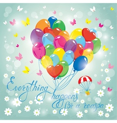 Image with colorful balloons in heart shape on sky vector image