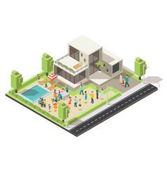 Isometric suburban villa party concept vector