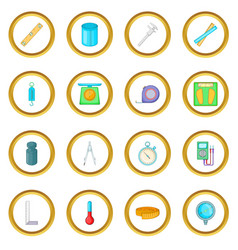 Measure tools icons circle vector
