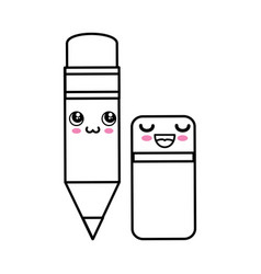 pencil kawaii cartoon vector image vector image