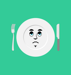 plate sad emoji empty dish isolated sorrowful vector image vector image