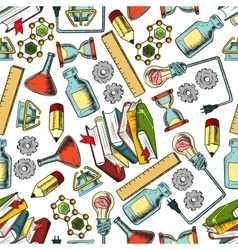 Retro seamless science and education pattern vector image