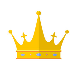 royal crown flat icon isolated on white vector image