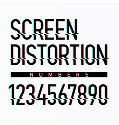 screen distortion alphabet numbers vector image vector image
