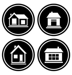 set round icons with house vector image vector image