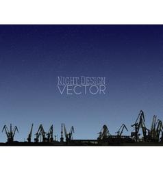Shipyard harbor skyline night design vector