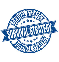 Survival strategy round grunge ribbon stamp vector