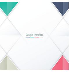 Template triangle design white pink purple green vector