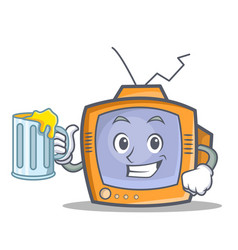 Tv character cartoon object with juice vector